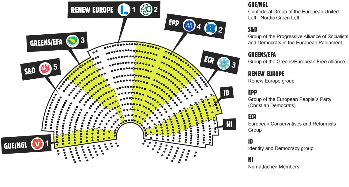 Overview of the MEP's according to party group in the EP